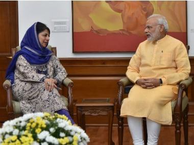 Jammu and Kashmir CM Mehbooba Mufti and Prime Minister Narendra Modi in New Delhi. Twitter@ PMOIndia