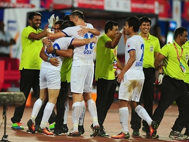 Mumbai City FC players celebrating their side's goal against FC Pune City. Sportzpics