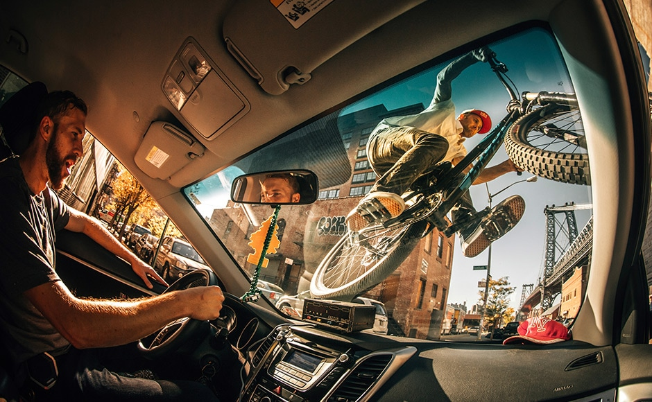 This dynamic image that won the New Creativity category was shot by Ale Di Lullo. The Italian photographer shot Professional Freeride Mountain Biker Aaron Chase riding his bike on the windshield of a NYC cab. Ale Di Lullo/ Redbull Illume