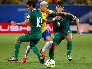 Brazil's Neymar in action against Bolivia in South American World Cup qualifiers. Reuters