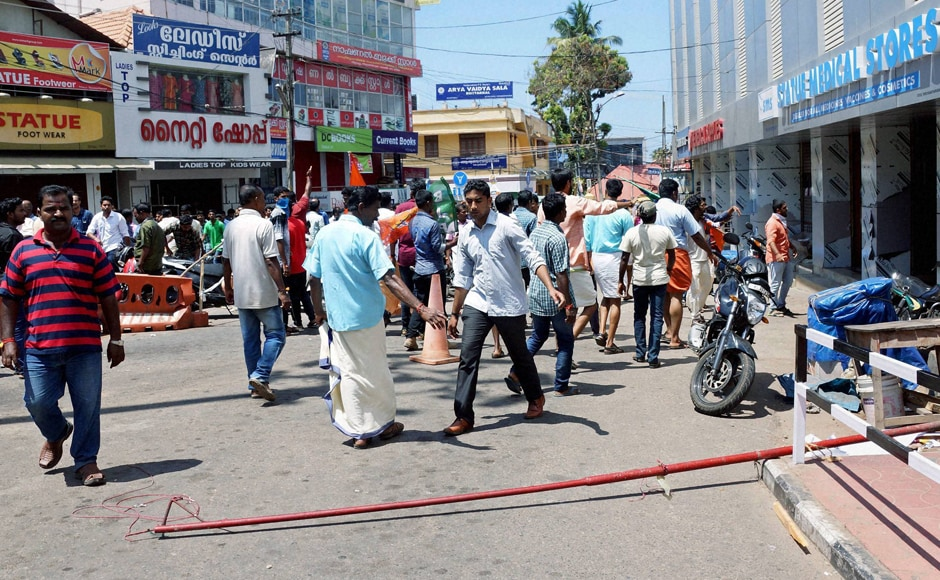 BJP activists forcibly closed down shops including medical stores after destroying Left Democratic Front (LDF) hoardings, flag posts near Secretariat in Thiruvananthapuram. Photo: PTI