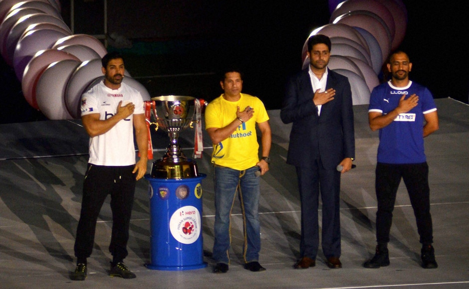 The third edition of the Indian Super League got off to a colourful start with a star-studded opening ceremony even as the fans, wearing their passion for the game on their sleeves, descended at the Indira Gandhi International Stadium in Guwahati. PTI