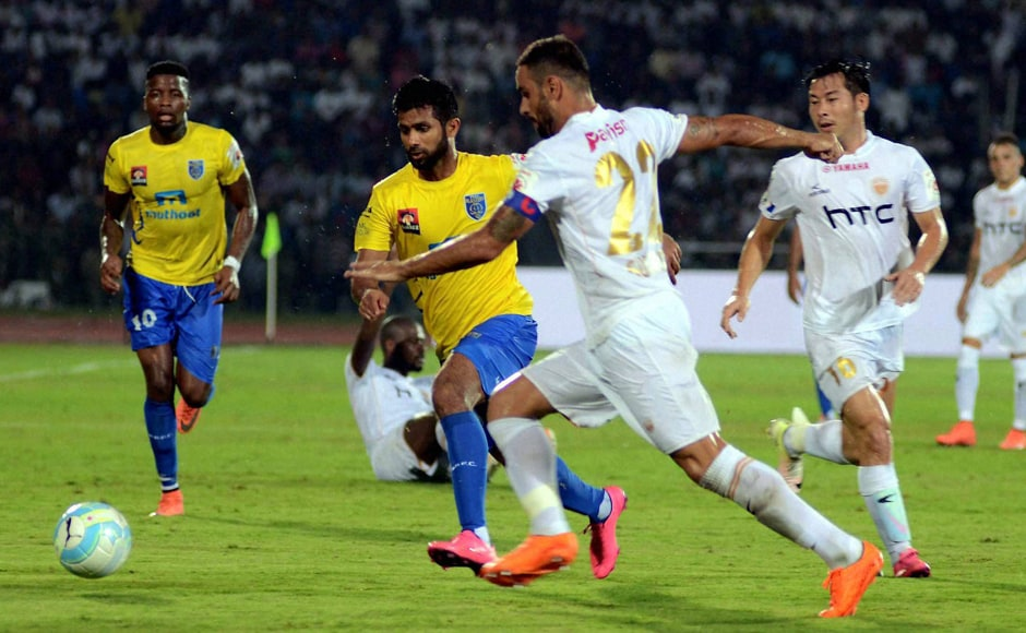 Northeast United FC and Kerala Blasters FC in action during the opening match of the 3rd season of Indian Super League. PTI