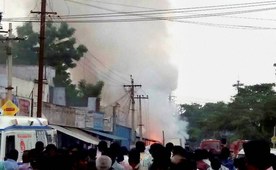 Eight people including six women of a nearby scan centre lost their lives as they got trapped with crackers bursting on the exit route. Many people in the centre locked themselves indise a room to save themselves from the fire but soon got into trouble due to suffocation. PTI