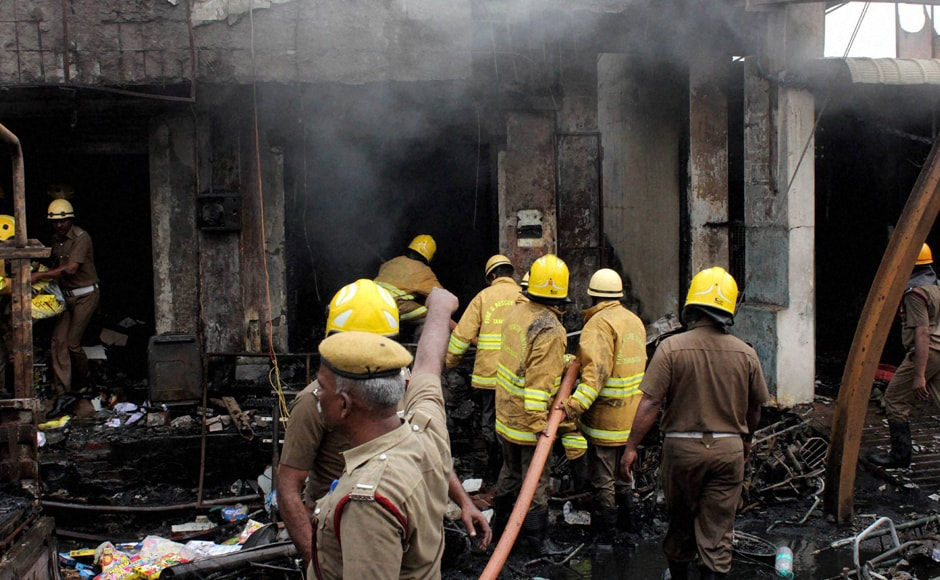 Firefighters from Sivakasi, Srivilliputhur, Virudhunagar and Sattur were rushed to control the raging flames. PTI
