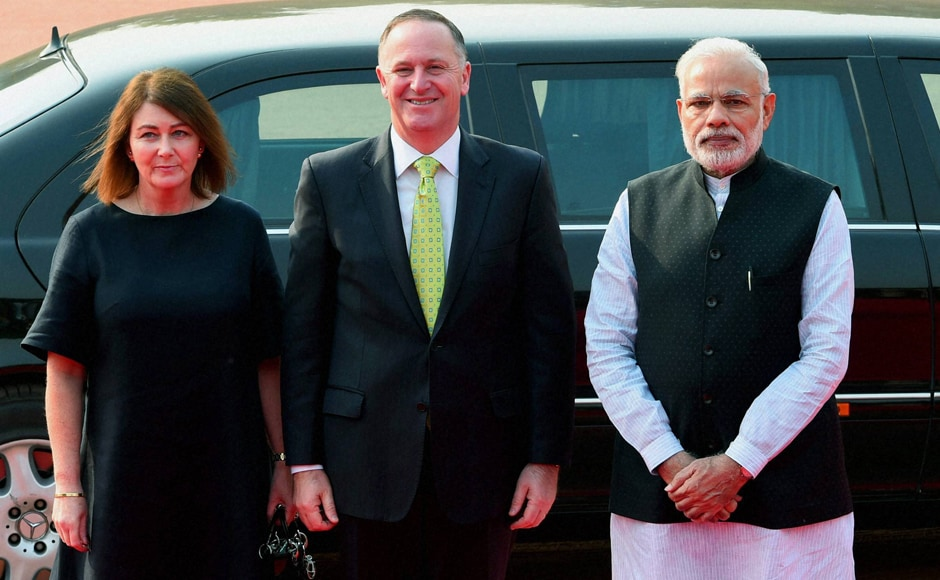 PM Modi with his New Zealand's counterpart John Key and his wife, Bronagh Key in New Delhi on Wednesday. New Zealand was one of the countries that took the stand at the last NSG plenary in South Korea in June that no exception can be made in the case of India, a non-NPT country, while considering its membership bid of the elite group that regulates trade in atomic material. (Photo: PTI)