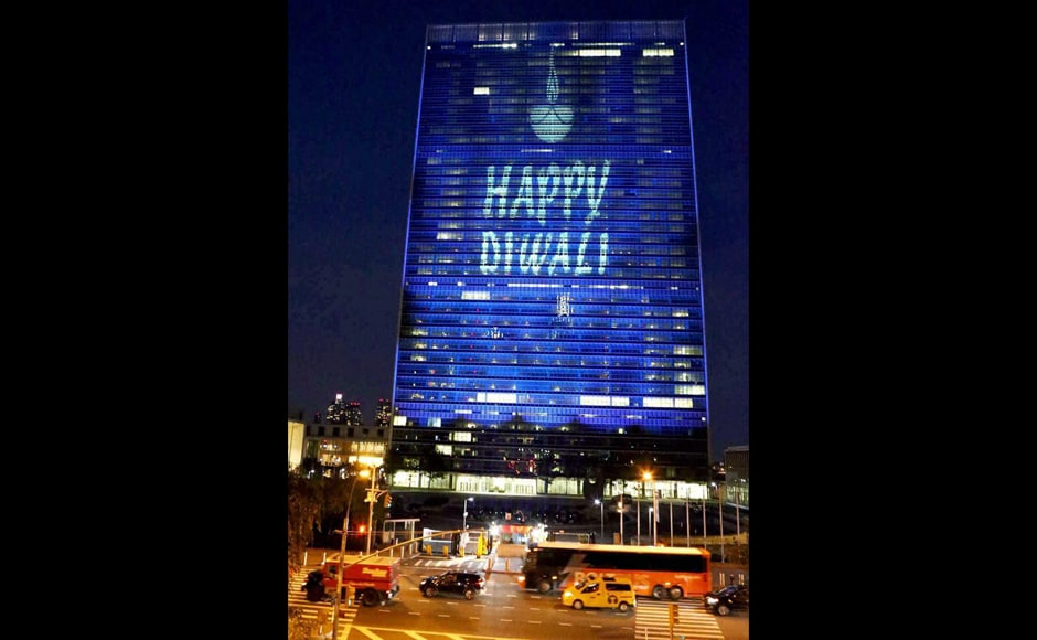 Also, in a first, Diwali was commemorated at the United Nations, with the world body's imposing headquarters here lit up especially on the occasion of the Indian festival of lights. (Photo: PTI)