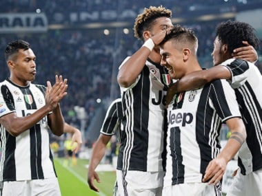 Juventus players celebrate scoring a goal. AP