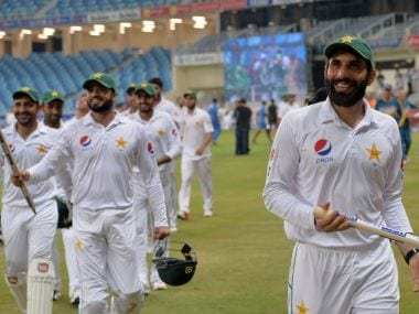 Pakistan players celebrate their thrilling win. AFP