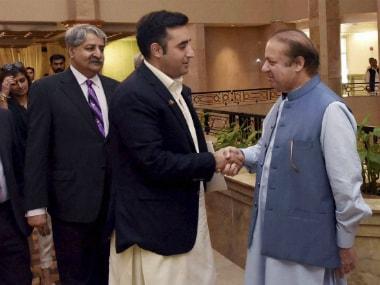 Prime Minister Nawaz Sharif meets Pakistan Peoples Party's Chairman Bilawal Bhutto. PTI/AP