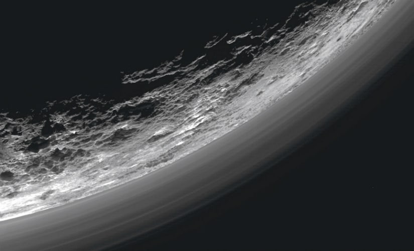 Haze layers above the dwarf planet Pluto are seen in an undated image taken by the Ralph/Multispectral Visible Imaging Camera (MVIC) on NASA's New Horizons spacecraft. Reuters