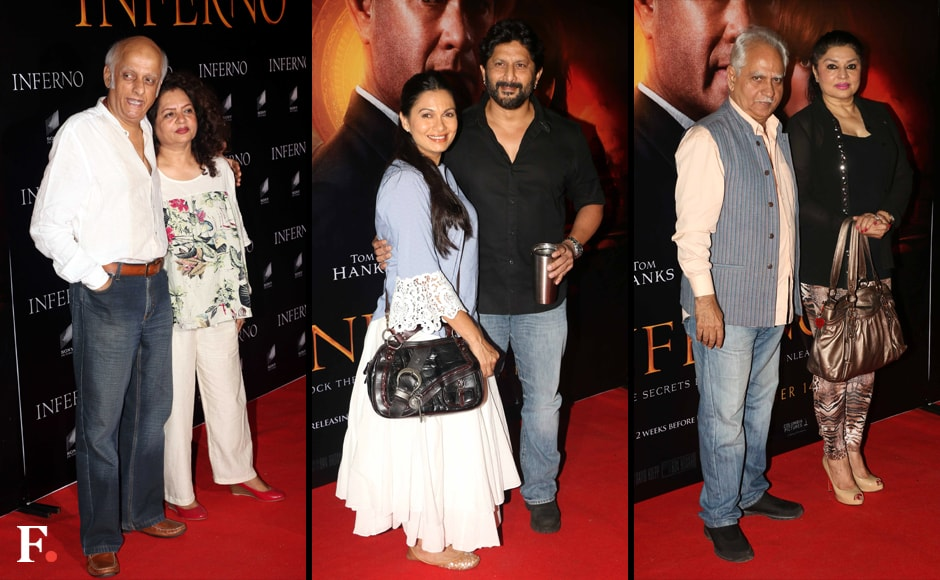 Mukesh Bhatt and his wife; Arshad Warsi and Maria Goretti, Ramesh Sippy and his wife Kiran. Image by Sachin Gokhale/Firstpost