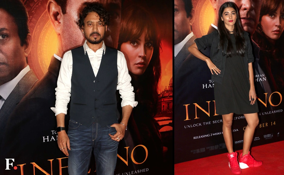 Irrfan Khan at the premiere of his film Inferno. Pooja Hegde at the screening. Image by Sachin Gokhale/Firstpost