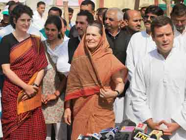 Priyanka, Sonia and Rahul Gandhi. File photo. PTI