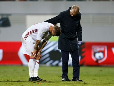 Spain's Sergio Ramos reacts after an injury. Reuters