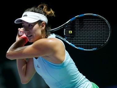 Garbine Muguruza in action against Svetlana Kuznetsova. Reuters