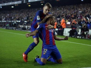 Barcelona's Rafinha reacts to scoring the winning goal against Granada. AP