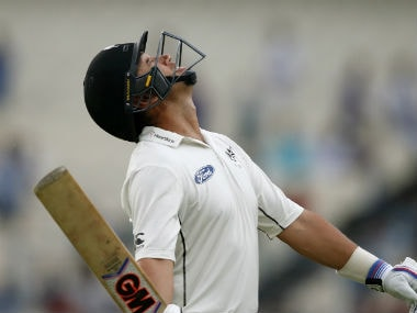 A disappointed Ross Taylor walks back after first innings dismissal in the second Test against India. AP