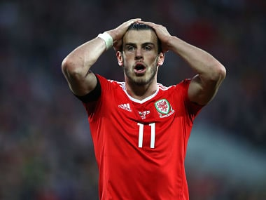 Wales' Gareth Bale reacts after coming close to scoring a second goal during the 2018 World Cup qualifying match. AP