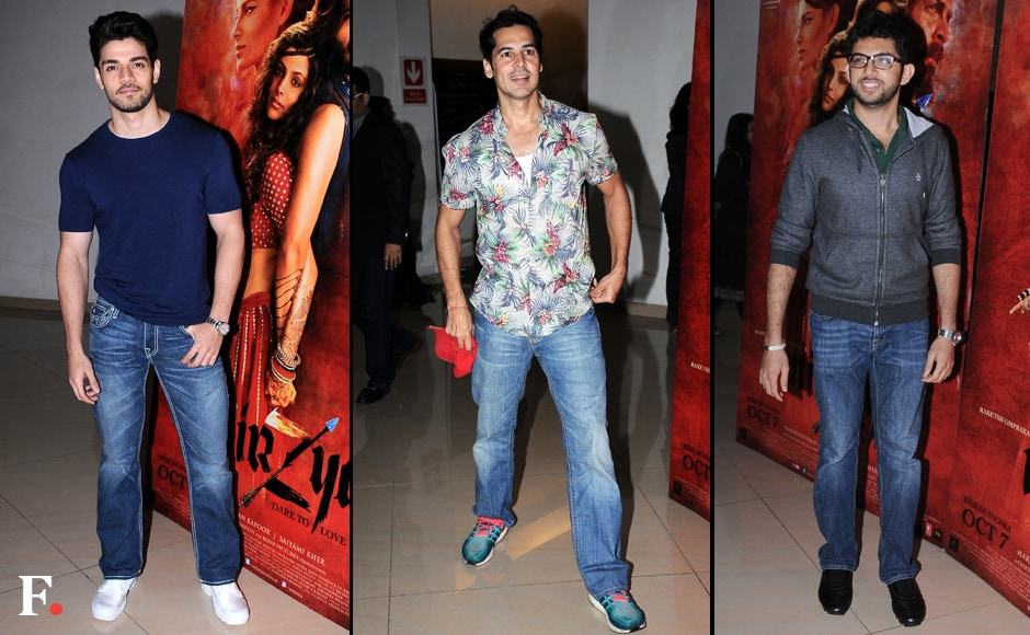 (L-R) Sooraj Pancholi, Dino Morea and Aaditya Thackeray were among the guests spotted at the screening. Image by Sachin Gokhale/Firstpost