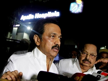 Chennai: DMK Treasurer and Opposition leader of Tamil Nadu Assembly MK Stalin interacts with media persons outside Apollo Hospital, where AIADMK Supremo and Tamil Nadu Chief Minister J Jayalalithaa is admitted, in Chennai on Saturday. PTI Photo(PTI10_8_2016_000213B)