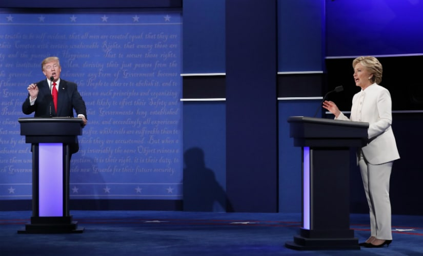 Donald Trump and Hillary Clinton during the third US Presidential debate on Wednesday. Reuters