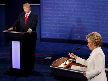 Republican U.S. presidential nominee Donald Trump and Democratic U.S. presidential nominee Hillary Clinton at their third and final 2016 presidential campaign debate. Reuters