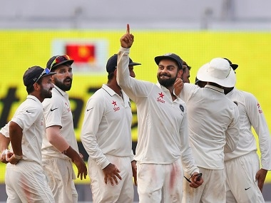 Virat Kohli gestures after India won the second Test against New Zealand. AP