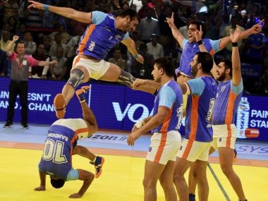 Indian players celebrate after beating Iran by 39-28 points in the finals of Kabaddi World Cup 2016
