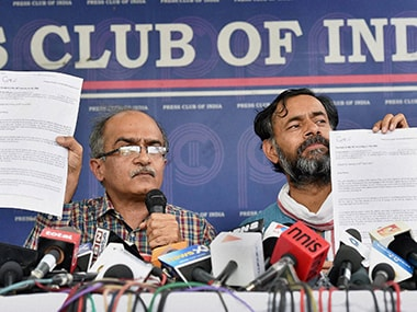 "Prashant Bhushan and Yogendra Yadav landed at the Press Club in New Delhi on Thursday to make an ""explosive exposé"" against Varun Gandhi. PTI"