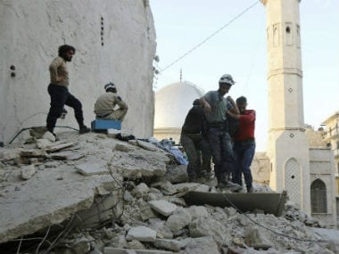 Destruction caused by the airstrikes. AP