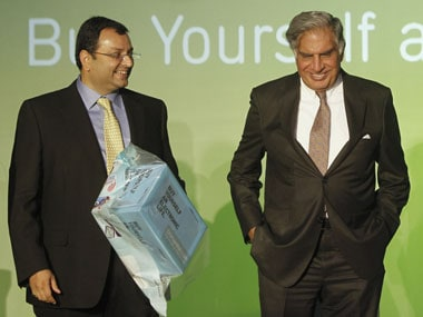 Former chairman of Tata Sons Cyrus Mistry with current chairman Rata Tata. Reuters