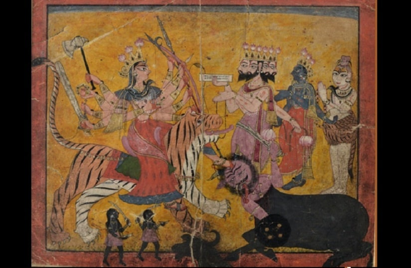 Brahma, Vishnu and Shiva praising and congratulating Mahishasurmardini after her Victory
