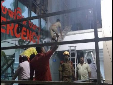Rescue work underway at the Institute of Medical Sciences and Sum Hospital in Bhubaneshwar. PTI