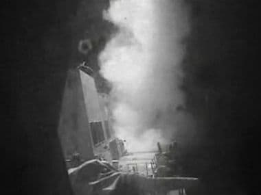 Frame grab of video provided by the United States Navy moments after a US launched Tomahawk cruise missile in Houthi-controlled territory. AP