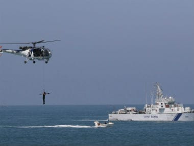 Indian Coast Guard participating in a mock drill. Reuters
