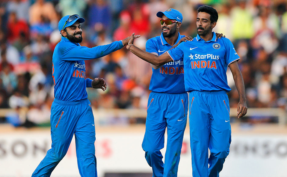 India's Virat Kohli, Hardik Pandya and Dhawal Kulkarni celebrates after New Zealand's BJ Watling's wicket. Hosts dismissed the Black Caps for 260. AP