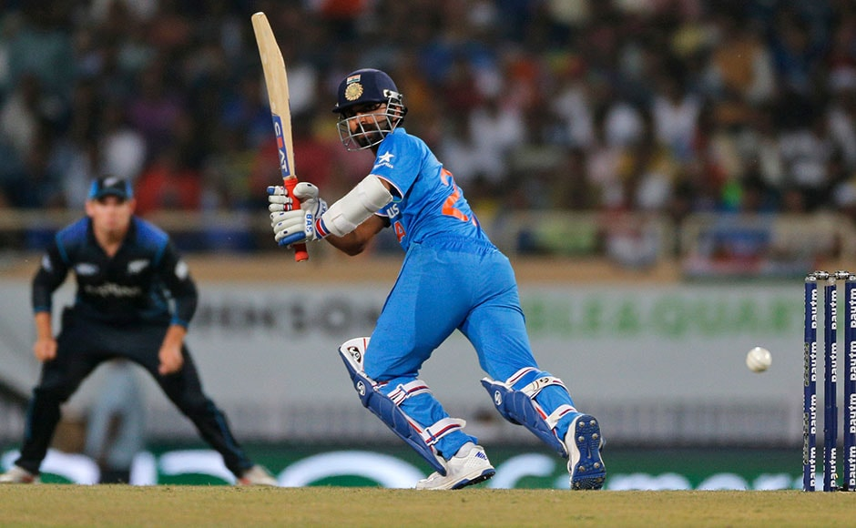 India's Ajinkya Rahane scored his first fifty in the ODI series. His innings of 57 ended when Jimmy Neesham trapped him LBW. AP
