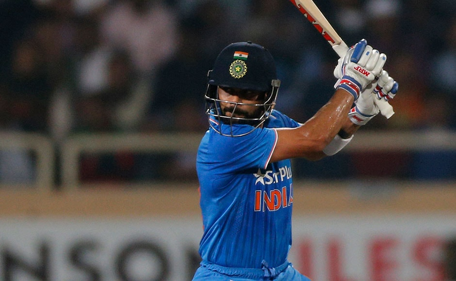 Virat Kohli scored 45 before he edged Mitchell Santner's delivery to BJ Watling. AP