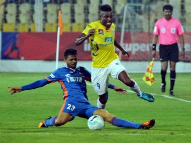 Action between Kerala Blasters FC and FC Goa at Fatorda on Monday. PTI