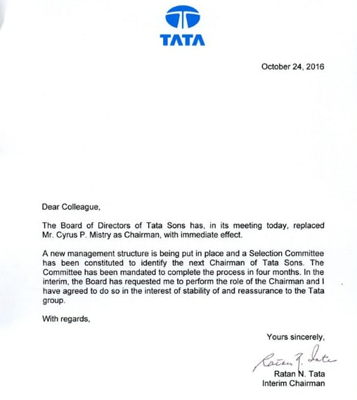 A copy of Ratan Tata's letter to his employees.