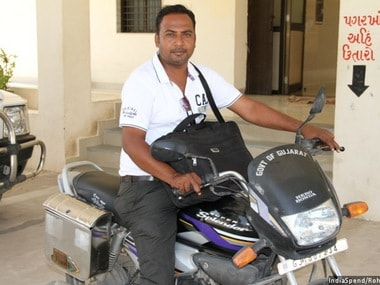 After the pilot programme, field officers, such as Sagar, now handle double the cases they would manage in the past. He works seven hours on the field, and then at home, all for Rs. 15,000 a month. Pic courtesy: Indiaspend