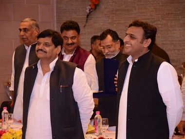 A file photo of UP Chief Minister Akhilesh Yadav with uncle Shivpal Yadav. PTI