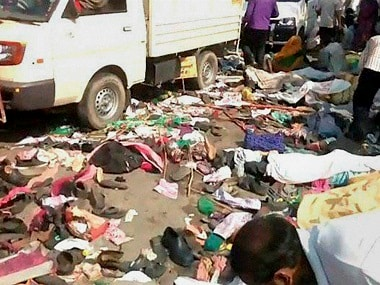 A scene after the stampede in Varanasi on Saturday. PTI