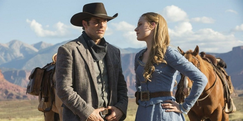 James Marsden with Evan Rachel Wood in 'Westworld'