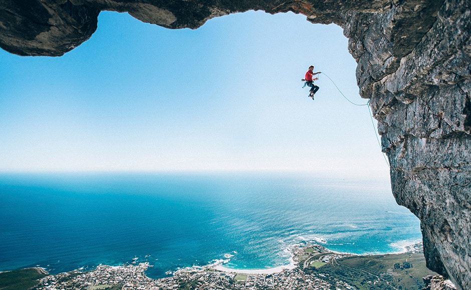 Micky Wiswedel from South Africa won the Wings category of photographs with his image that pretty much embodies the category. In this shot, climber Jamie Smith is seen mid-fall as he attempts a new route on Table Mountain, Cape Town. Micky Wiswedel/Redbull Illume