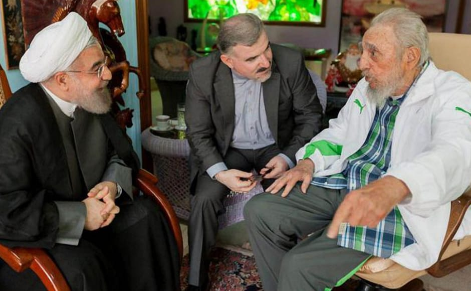 In this picture hand-out by Estudios Revolucion, the Iranian President Hasan Rohani (L) is received by former Cuban President Fidel Castro (R) in his house of Havana, on 19 September, 2016. Castro squeezed the maximum out of his 90 years which ended when he died late Friday, getting by on snatched rest, sustained by the passion of his interests and the revolution he nurtured for nearly half a century. (Photo: AFP)