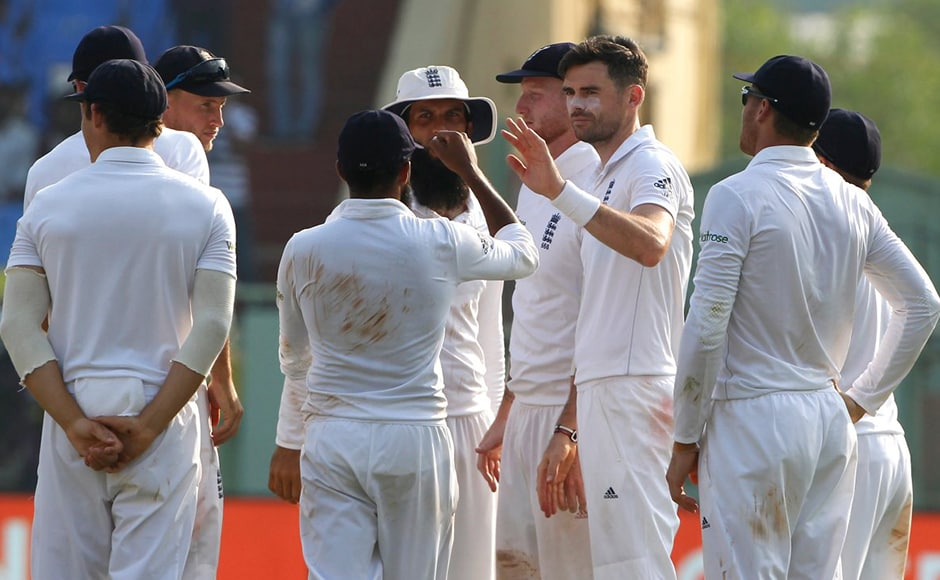 England players celebrate the wicket of Indian vice-captain Ajinkya Rahane. New ball did the trick in the 88th over as he fell James Anderson for 23. Image courtesy: Twitter/Englandcricket