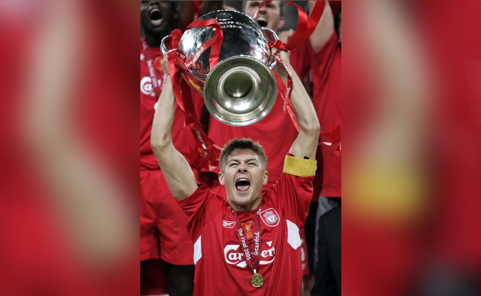 Gerrard was over the moon after his side's historic victory in the 2005 UEFA Champions League final. AP