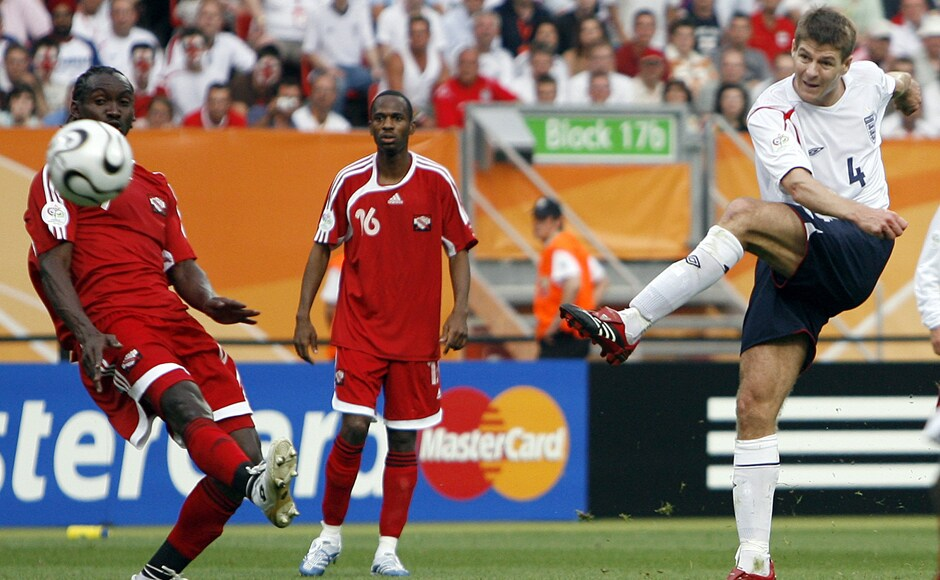 Gerrard was on target during England's commanding win against Trinidad & Tobago in the 2006 Fifa World Cup. AP